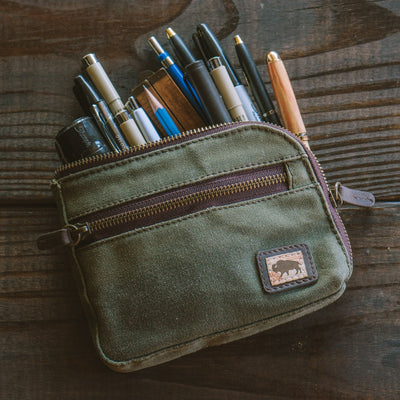 Elkton Waxed Canvas Zipper Gear Pouch - Small | Green hover