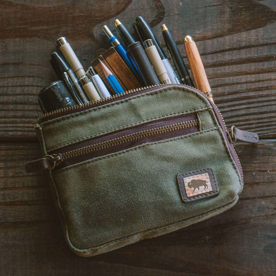 Elkton Waxed Canvas Zipper Gear Pouch - Small | Green