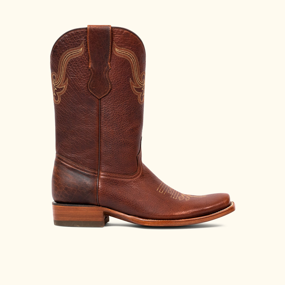 7e95b7e7b75 Ruidoso Bison Leather Western Boot | Tumbled Red Rock