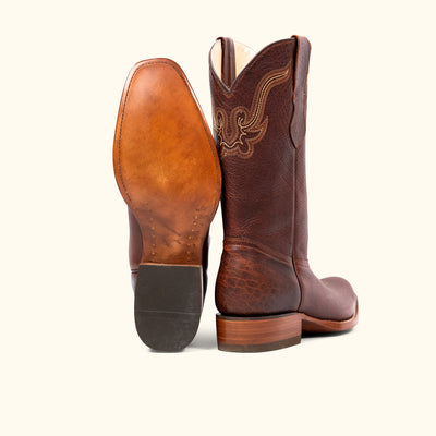 Ruidoso Bison Leather Western Boot | Tumbled Red Rock