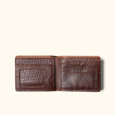 Men's Bison Full Grain leather bifold wallet