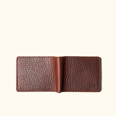 Men's Rugged Bison Leather Bifold Wallet