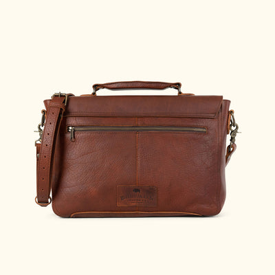 Men's Bison Leather Messenger Bag Brown