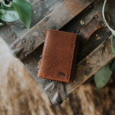 Bison Leather Trifold Wallet hover