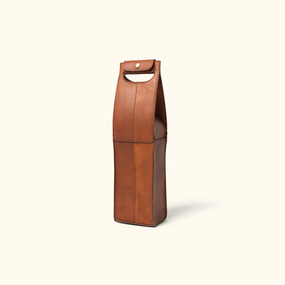 Rugged Leather Wine Tote