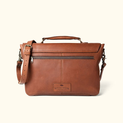 Vintage Leather Laptop Messenger Bag | Autumn Brown back