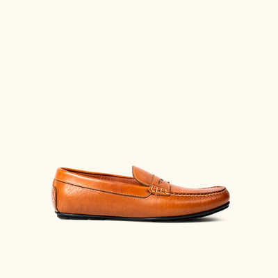Sundance Bison Leather Penny Loafers | Trapper Tan