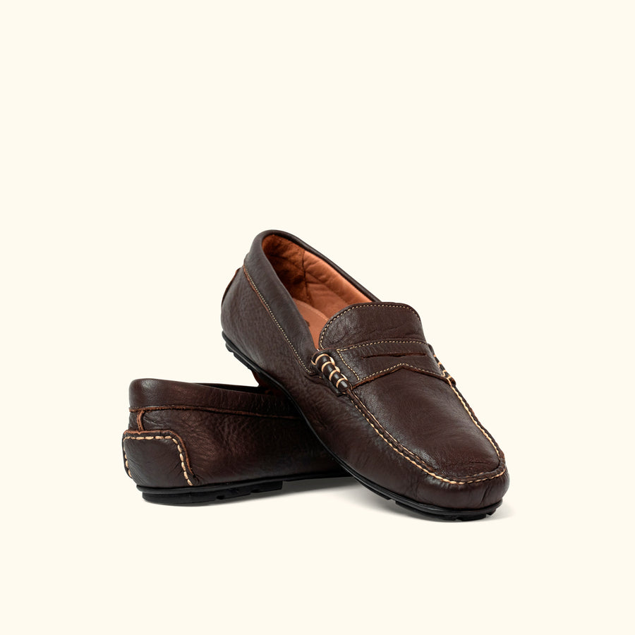 Sundance Elk Leather Penny Loafers | Mahogany