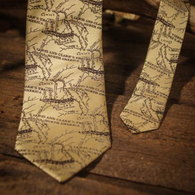 Lewis and Clark Map - Old Map Tan - Necktie - Front