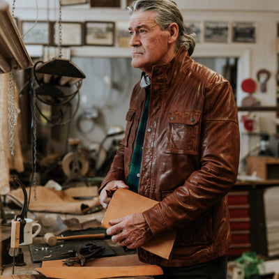 Mens Best Leather Field Jacket in brown