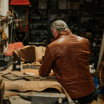 rugged brown leather field jacket