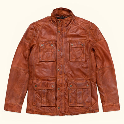 Theodore Leather Field Jacket in brown