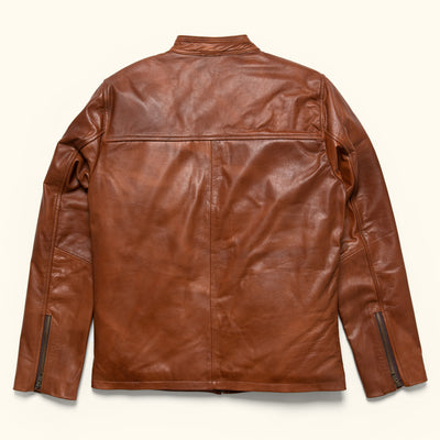 Mens Classic Leather Moto Jacket in tan