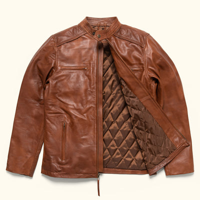 Vintage Leather Moto Jacket in tan