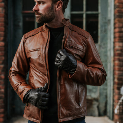 Mens Leather moto Jacket Thompson in Whiskey Tan hover