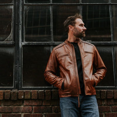 Man wearing leather Moto jacket