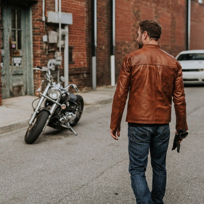 Rugged Leather Moto Jacket for men