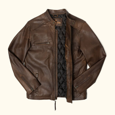 Thompson Leather Moto Jacket | Brown