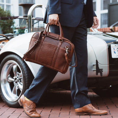 Ryder Reserve Bison Leather Laptop Briefcase | Brown hover