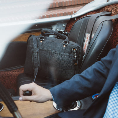 Ryder Reserve Bison Leather Laptop Briefcase | Black hover