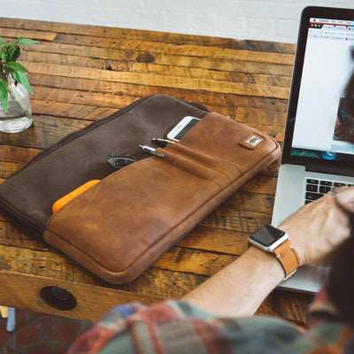 Elkton Waxed Canvas 15 Inch Laptop Case | Brown w/ Sienna Brown Leather hover
