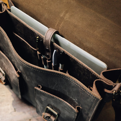 Denver Leather Briefcase | Dark Walnut