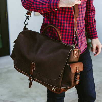 Dakota Leather Messenger Bag | Dark Hazelnut w/ Chestnut Brown hover