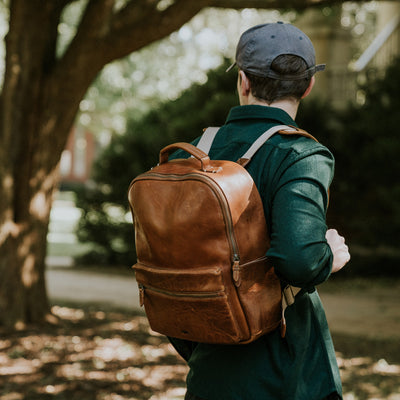 Walker Leather Backpack Bag in Rustic Tan hover