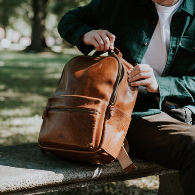Rugged leather school backpack