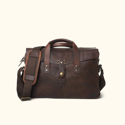 Men's Modern Leather Briefcase Bag | Vintage Oak front
