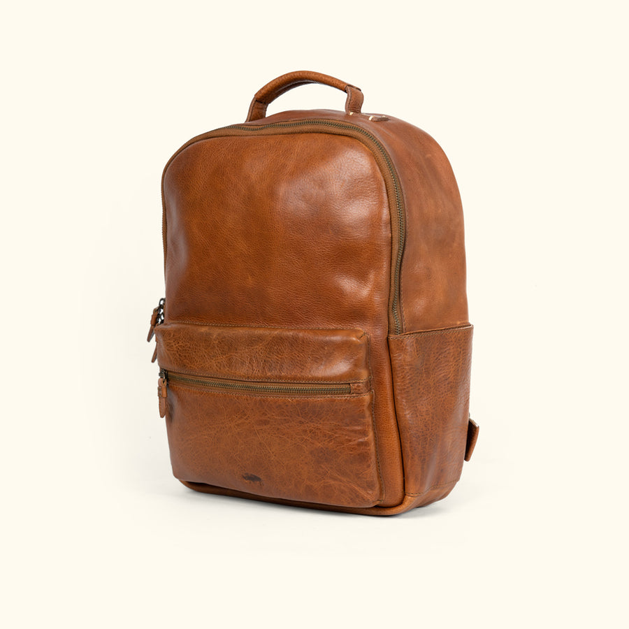 Men's Rustic Tan Leather Backpack