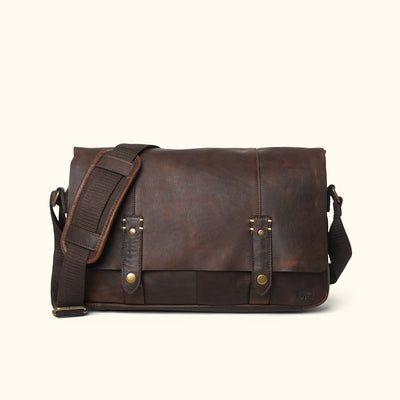 Modern Leather Messenger Bag Front