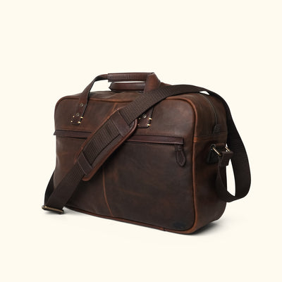 Men's Dark Brown leather pilot travel bag