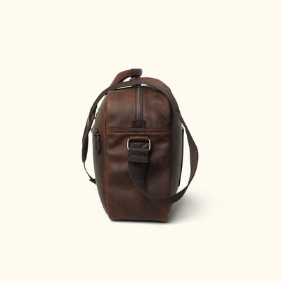 Rugged Leather Pilot Bag | Vintage Oak side