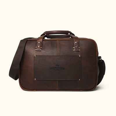 Men's Vintage Leather Travel Pilot Bag | Vintage Oak back