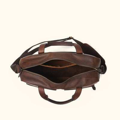Men's Classic Leather Pilot Travel Bag | Vintage Oak interior