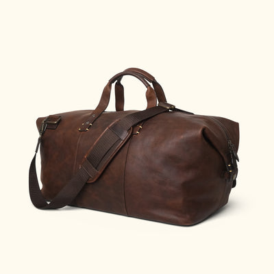 Rugged Leather Weekend Bag | Vintage Oak turned