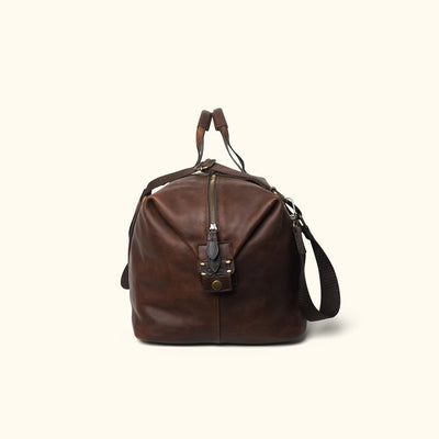 Men's Vintage Leather Travel Bag | Vintage Oak side