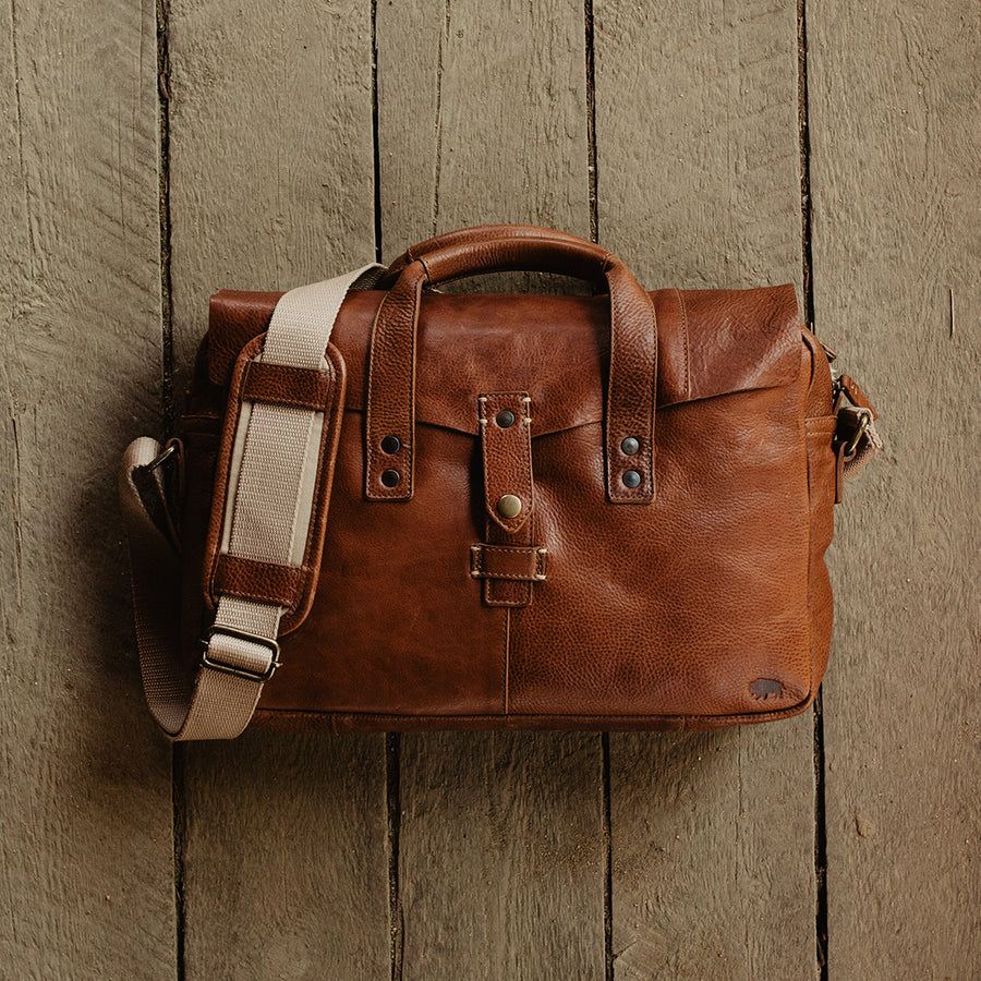 Walker Leather Briefcase Bag Rustic Tan