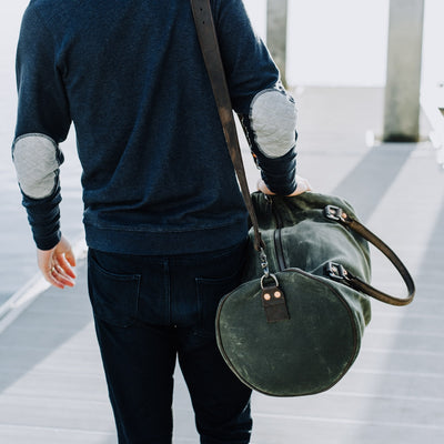 Elkton Waxed Canvas Duffle Bag | Green w/ Dark Walnut Leather hover