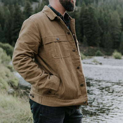 Rugged waxed canvas trucker jacket