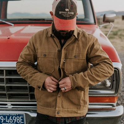 Mens Tough Waxed Canvas Trucker jacket hover