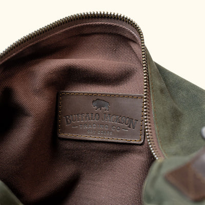 Elkton Waxed Canvas Duffle Bag | Green w/ Dark Briar Leather