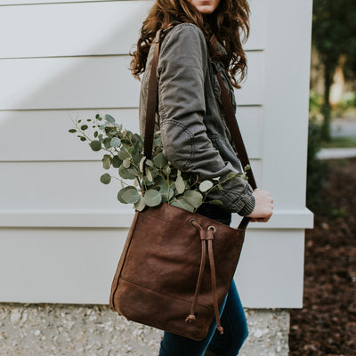 Madison Leather Bucket Bag | Dark Hazelnut hover
