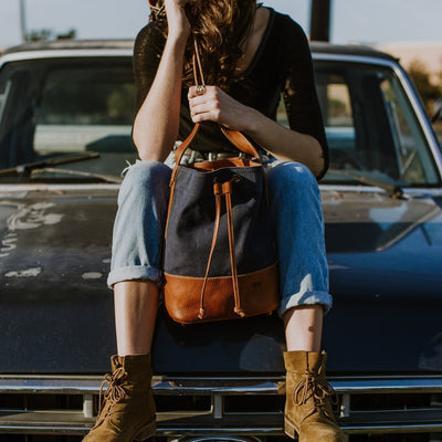Madison Waxed Canvas Bucket Bag | Navy w/ Saddle Tan Leather hover
