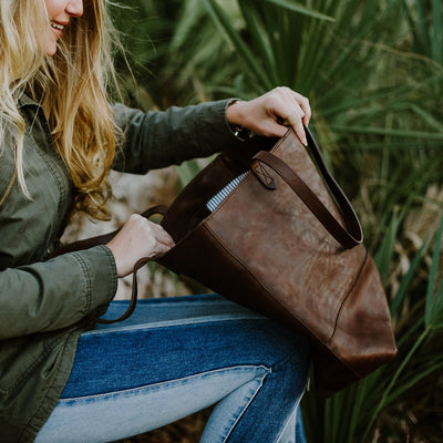 Madison Leather Tote | Dark Hazelnut