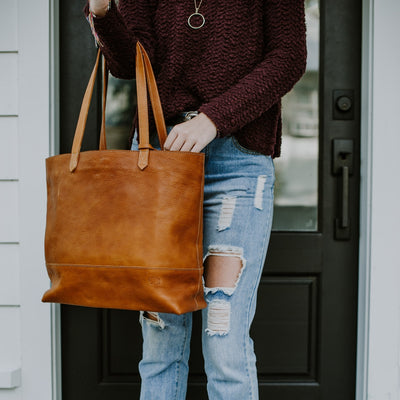 Madison Leather Tote | Saddle Tan hover
