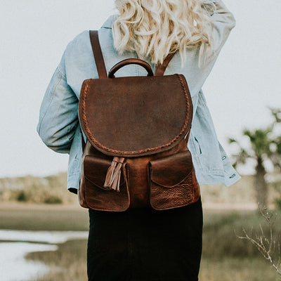 Camden Braided Leather Backpack | Mahogany hover