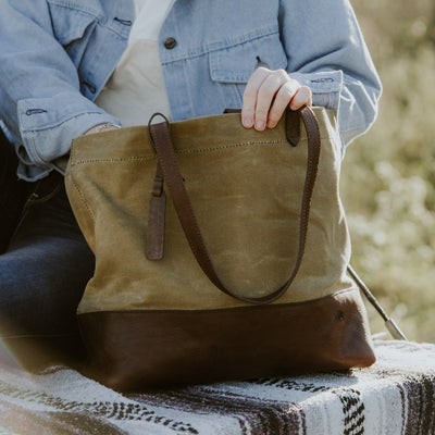 Madison Waxed Canvas Tote | Khaki w/ Dark Hazelnut Leather