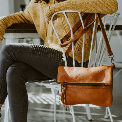 Madison Leather Crossbody Foldover Clutch | Saddle Tan hover